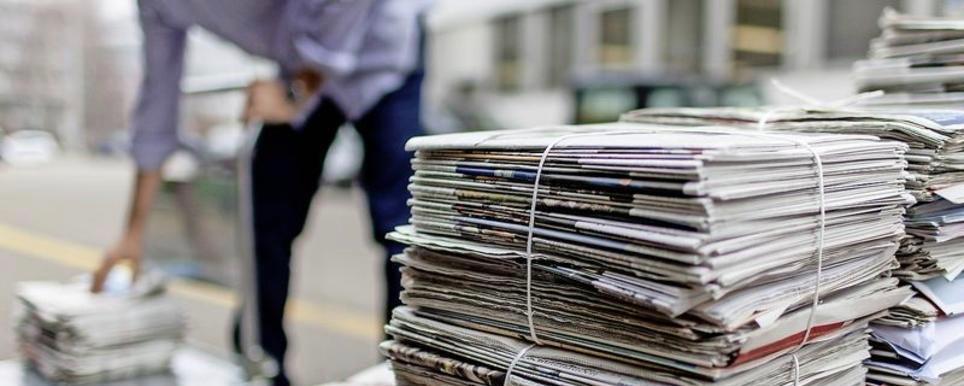 TAGESBILD Projekt  Altpapier Sammlung auf die Strasse von Zuerich   (KEYSTONE/Gaetan Bally)